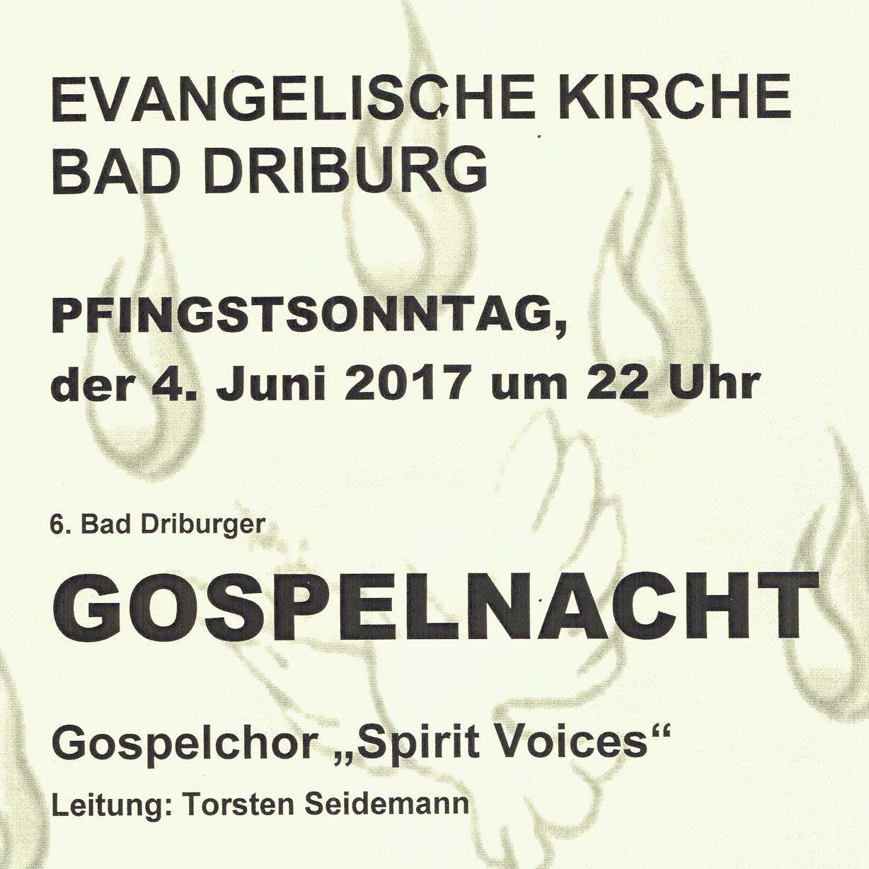 Pfingstsonntag in der Evangelischen Kirche 6. Bad Driburger Gospelnacht