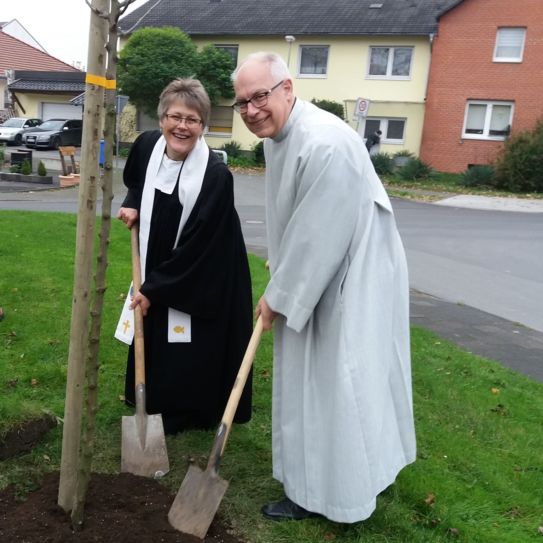 Pflanzaktion in Borchen Apfelbäumchen zum Reformationsjubiläum