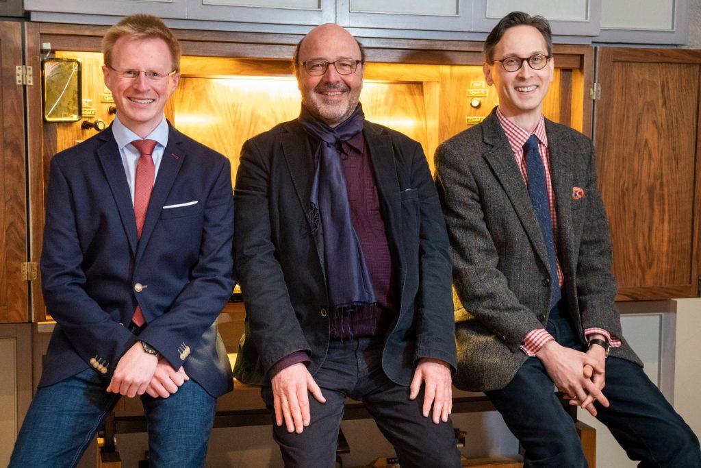 Laden ein zum Orgelspaziergang: (v. l.) Sebastian Freitag, Martin Hoffmann und Tobias Aehlig.