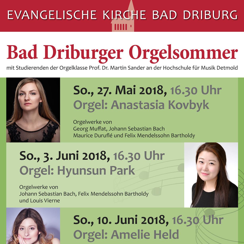 Reihe mit vier Konzerten Bad Driburger Orgelsommer 2018