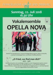 Vokalkonzert am 22. Juli in Bad Driburg mit OPELLA NOVA