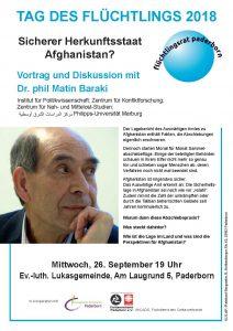 Vortrag über Afghanistan zum Tag des Flüchtlings