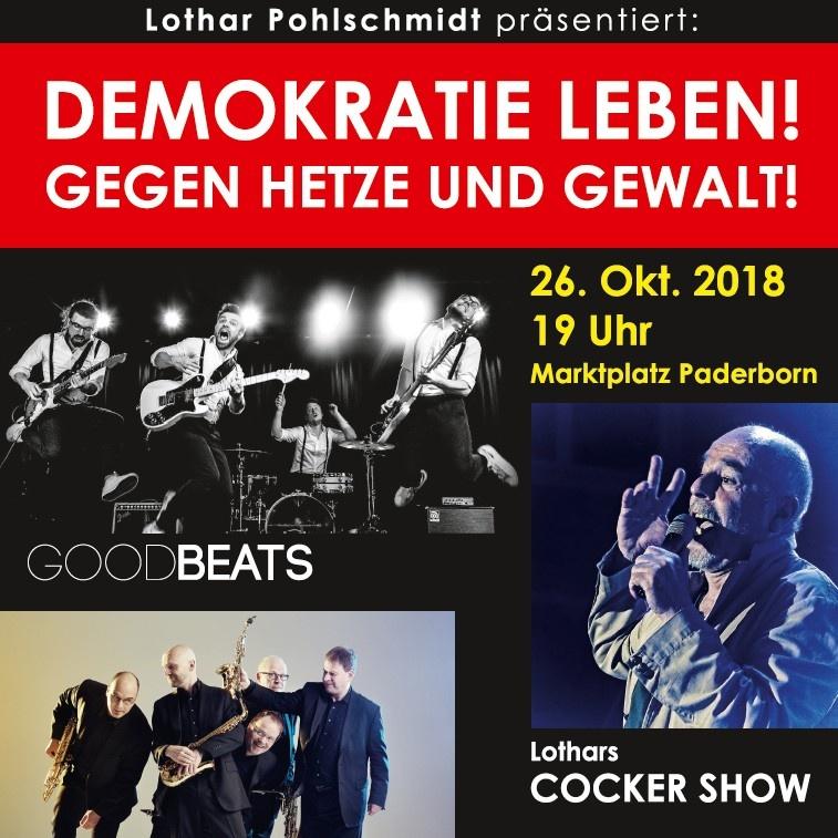 Konzert am 26.10. auf Paderborner Marktplatz Demokratie leben! – Gegen Hetze und Gewalt
