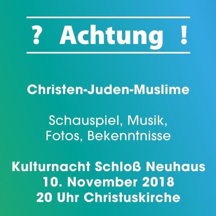 Kulturnacht Schloß Neuhaus ruft am 10.11. zu Akzeptanz und Achtung auf ? Achtung !