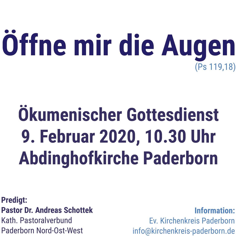 Abdinghofkirche Paderborn: Sonntag, 9. Februar 2020, 10.30 Uhr, ökumenischer Gottesdienst Gottesdienst im Vorfeld des 3. Ökumenischen Kirchentages 2021