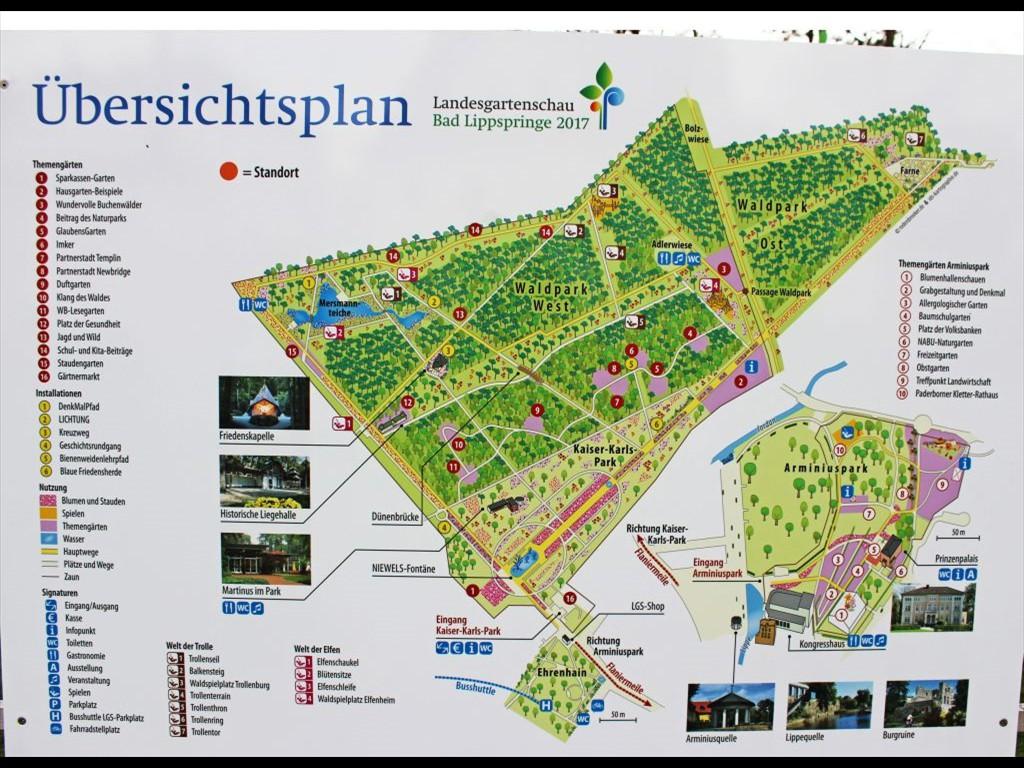 Die Landesgartenschau in Bad Lippspringe hat viele Attraktionen, das zeigt auch der Übersichtsplan. Der GlaubensGarten hat die Nummer 5.